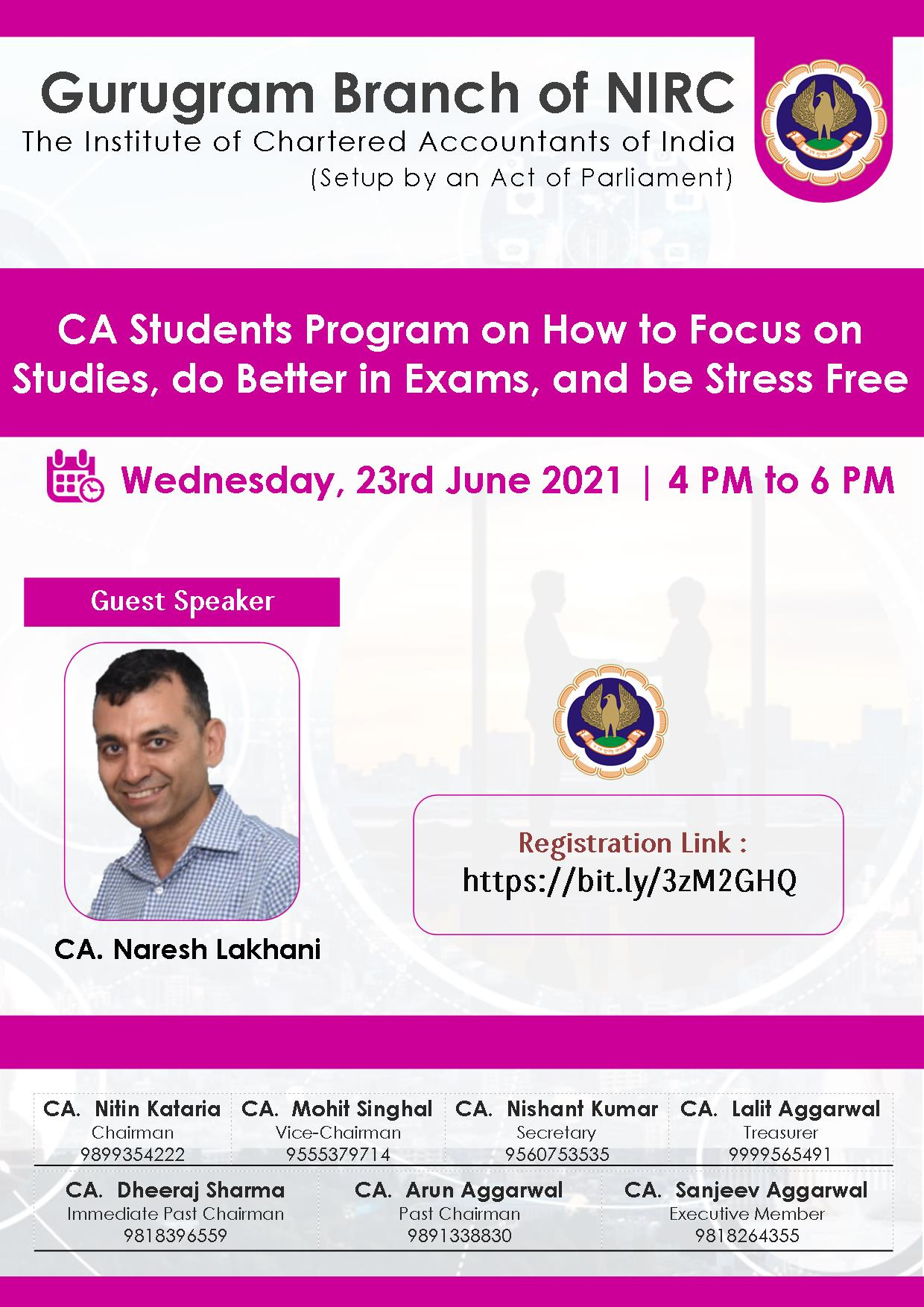VCM on How to Focus on Studies, do Better in Exams, and be Stress Free for CA Students