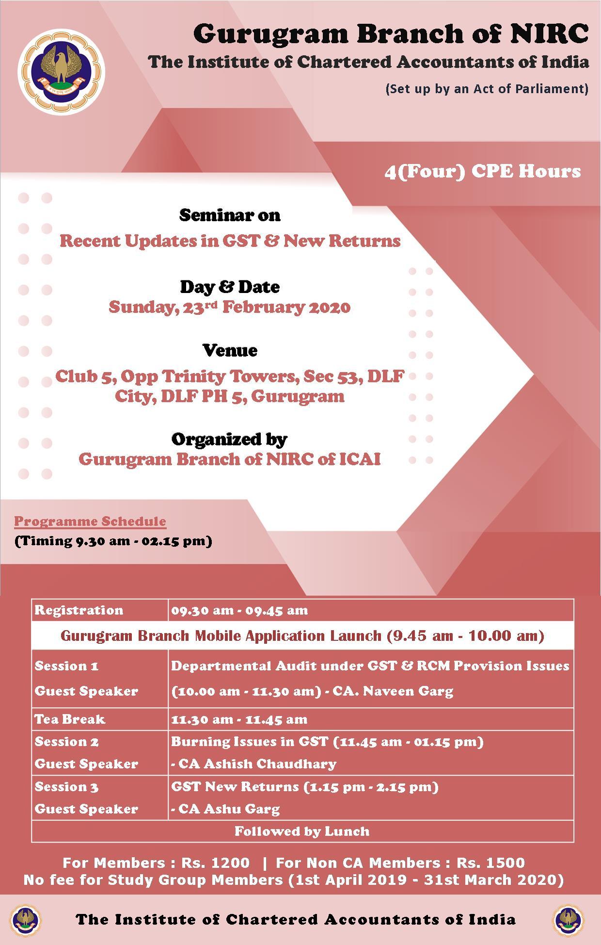 Seminar on Recent Updates in GST & New Returns